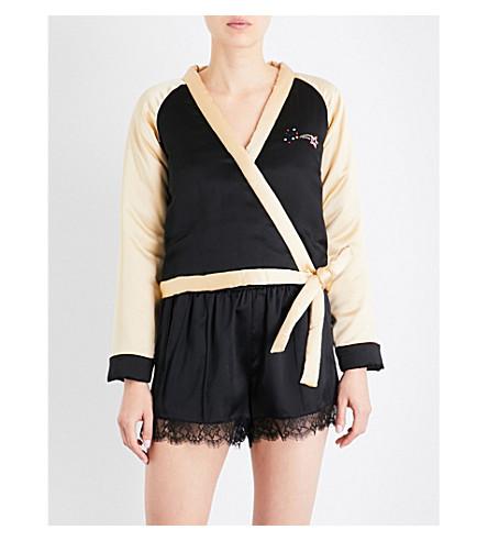 MORGAN LANE Nico embroidered-detail silk-satin jacket (Noir