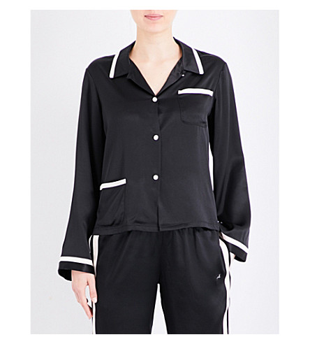 MORGAN LANE Ruthie silk-charmeuse pyjama top (Noir/cream