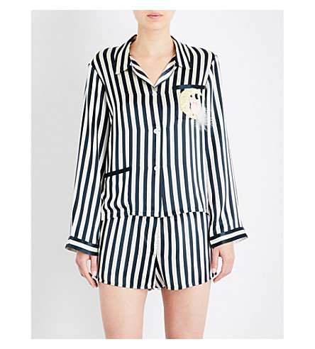 MORGAN LANE Moon Ruthie silk pyjama shirt (Midnight