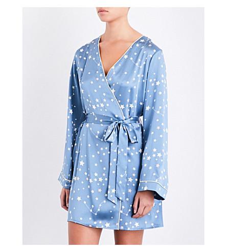 MORGAN LANE Langley constellation-print silk-charmeuse robe (Blue