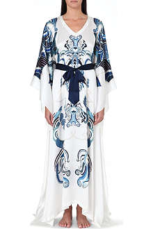 MENG Ornate-print silk kaftan dress