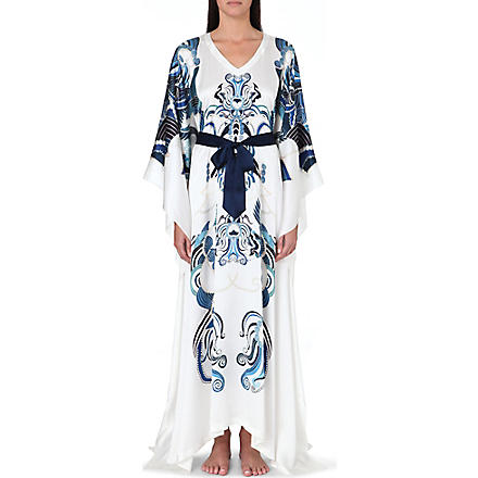 MENG Ornate-print silk kaftan dress (White