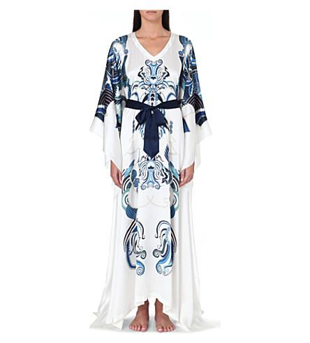 MENG Ornate-print silk kaftan dress (White