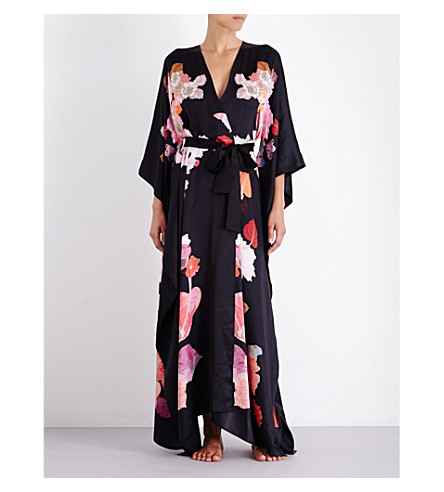 MENG Floral-print silk-satin kimono (Black+orange