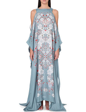 MENG Floral-print silk kaftan dress