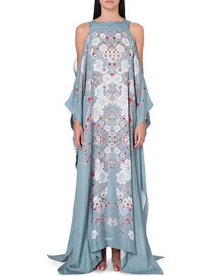 MENG Floral-print silk kaftan dress