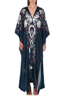 MENG Printed silk-satin cross-over gown