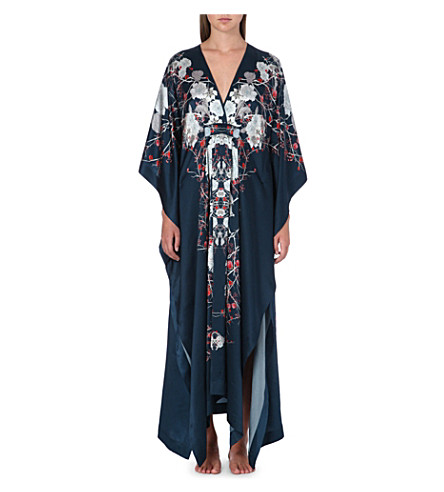 MENG Printed silk-satin cross-over gown (Navy
