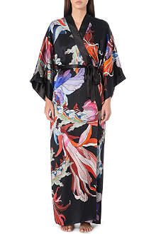 MENG Abstract print silk kimono