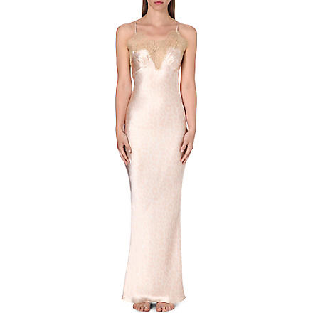 GILDA & PEARL Long silk and lace slip (Leopard/gold