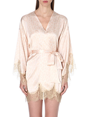 GILDA & PEARL Lace-trimmed silk-blend kimono