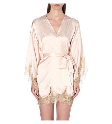 GILDA & PEARL Lace-trimmed silk-blend kimono (Leopard/gold