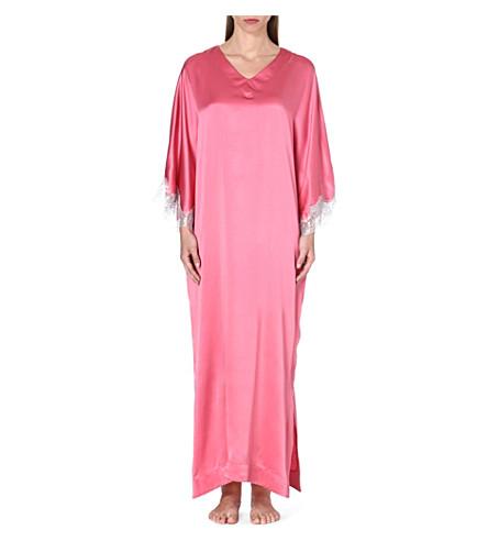 GILDA & PEARL Taylor silk-blend long kaftan (Pink/silver