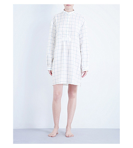 THE SLEEP SHIRT Short cotton sleep shirt (Blue+looklin+linen