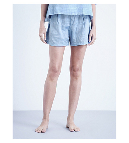 THE SLEEP SHIRT Pleated cotton pyjama shorts (Blue+cotton