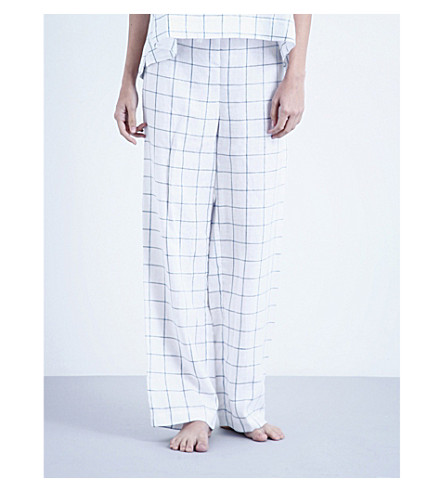THE SLEEP SHIRT Windowpane check linen pyjama bottoms (Blue+looklin
