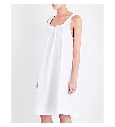 THE SLEEP SHIRT Sleeveless cotton nightdress (White+cotton+stripe