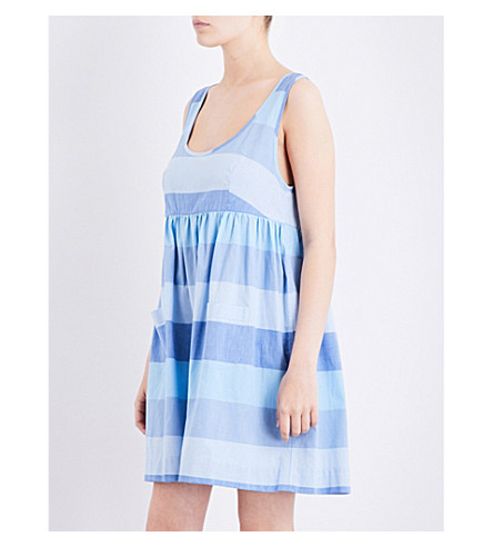 THE SLEEP SHIRT Striped cotton nightdress (Blue+montawk