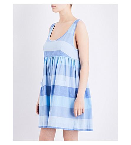 THE SLEEP SHIRT Striped cotton nightdress (Blue montawk