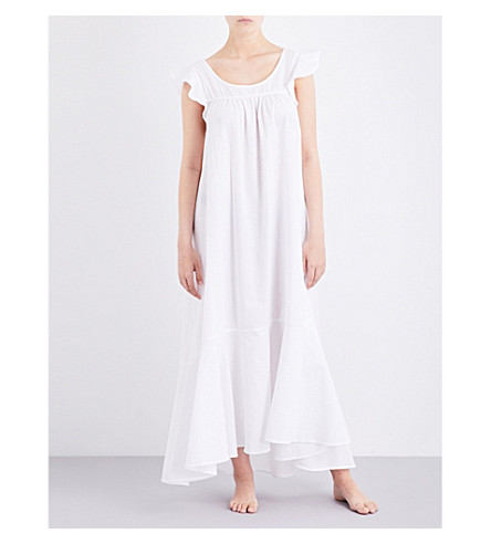 THE SLEEP SHIRT Flounce seersucker maxi nightdress (White seersucker