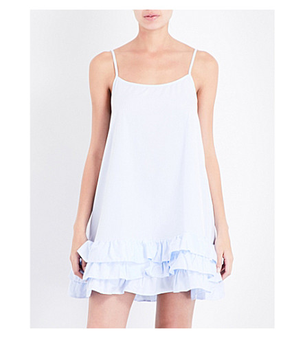 THE SLEEP SHIRT Ruffled cotton nightdress (Light+blue+twill