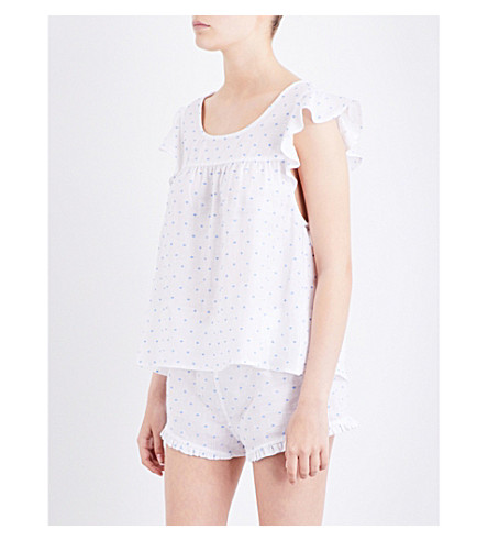 THE SLEEP SHIRT Flounce pyjama top (White+blue+tuffed