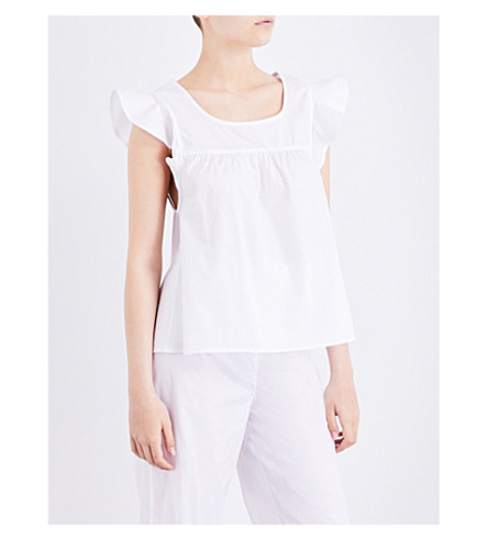 THE SLEEP SHIRT Flounce pyjama top (White+cotton+stripe