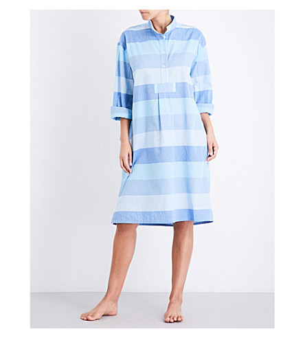 THE SLEEP SHIRT Striped long cotton nightshirt (Blue+montawk