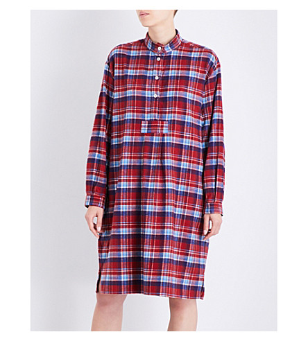 THE SLEEP SHIRT Plaid long brushed-cotton nightshirt (Red+autumn+plaid