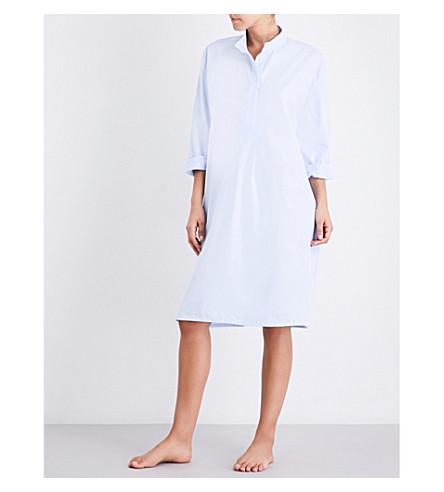 THE SLEEP SHIRT Pinstriped long cotton nightshirt (Blue+cotton+strip