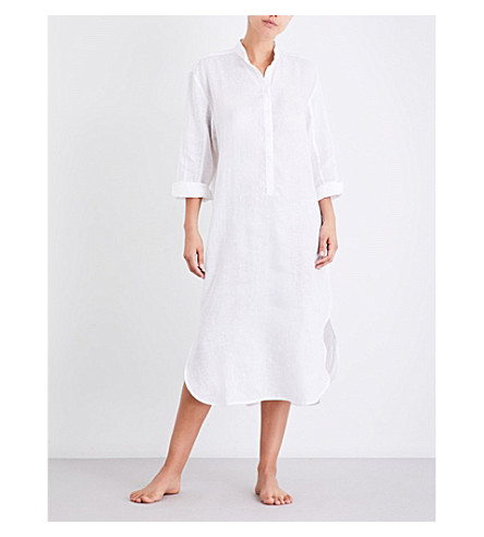 THE SLEEP SHIRT Semi-sheer raw-linen ankle nightshirt (White+linen