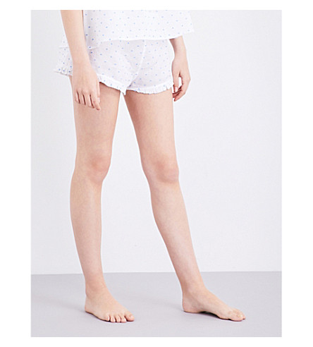 THE SLEEP SHIRT Ruffle pyjama shorts (White+blue+tuffed