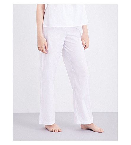 THE SLEEP SHIRT Lounge cotton pyjama bottoms (White+cotton+stripe