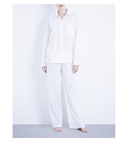 POUR LES FEMMES Floral-print cotton pyjama set (Grey/white