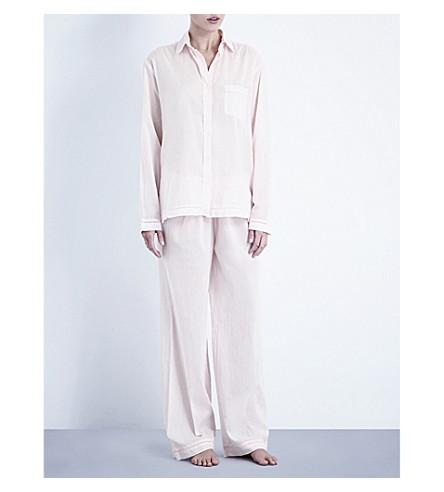 POUR LES FEMMES Classic cotton pyjama set (Soft+pink