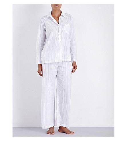 POUR LES FEMMES Striped cotton-gauze pyjama set (Grey+stripe
