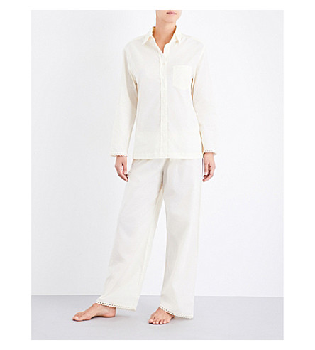 POUR LES FEMMES Cluny lace-detailed cotton pyjama set (Yellow+w+cream
