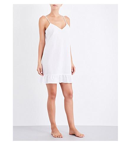 POUR LES FEMMES Striped cotton-voile slip dress (White+w+yellow