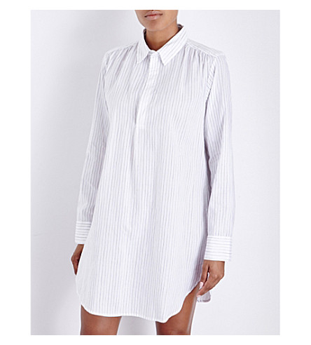 POUR LES FEMMES Striped cotton sleep shirt (Grey+stripe
