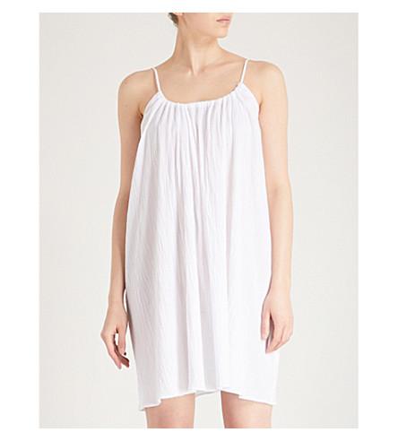 POUR LES FEMMES Scoop-neck cotton-gauze nightdress (White
