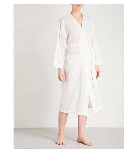 POUR LES FEMMES Belted cotton-gauze robe (White