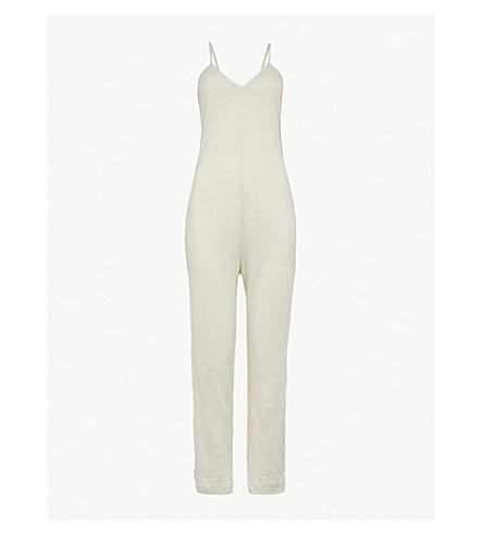 POUR LES FEMMES V-neck linen jumpsuit (Sand/pink