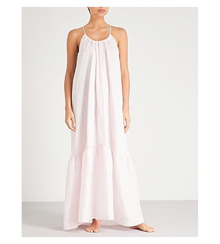 POUR LES FEMMES Ruffled linen night dress (Pink