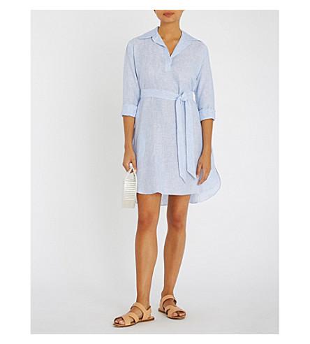 POUR LES FEMMES Belted linen sleep shirt (Blue+stripe