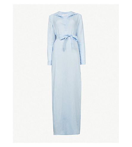 POUR LES FEMMES腰带亚麻布晚礼服 (蓝色