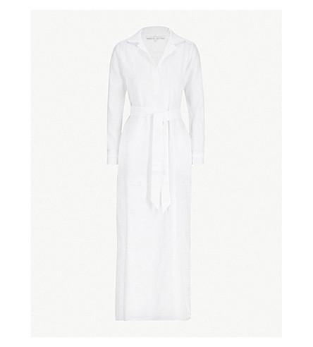 POUR LES FEMMES腰带亚麻布晚礼服 (白色