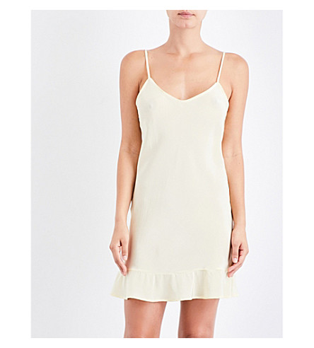 POUR LES FEMMES Ruffled-hem silk slip dress (Yellow