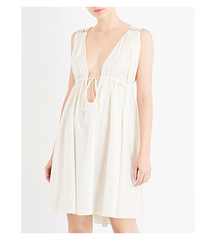 THREE GRACES LONDON Stray Pleasures cotton-voile nightdress (Eggshell