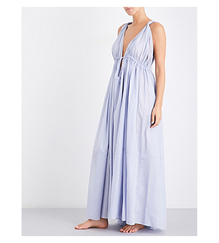 THREE GRACES LONDON Clemenza cotton-voile nightdress (Lavender