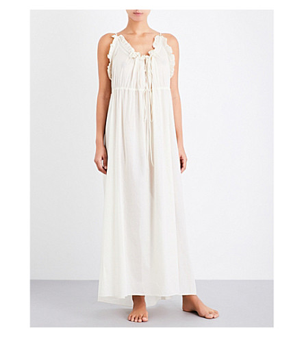 THREE GRACES LONDON Aida ruffled cotton-voile nightdress (Eggshell